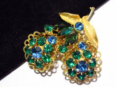Rhinestone Flower Brooch Pin Blue and Green by darsjewelrybox