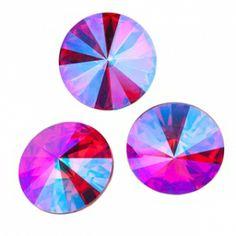 1122 12mm Rivoli LIGHT SIAM GLACIER BLUE | Eureka Crystal Beads
