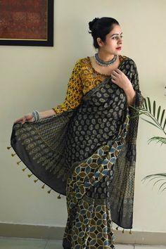 Hand block printed Ajrakh saree in natural dyes Cotton Blouses, Cotton Saree, Chanderi Silk Saree, Kasavu Saree, Kalamkari Saree, Half And Half, Block Print Saree, Saree Poses, Dress Indian Style