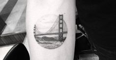 Tattoo Artist: Dr. Woo. Tags: styles, Fine Line, Geometric Shapes, Circles, Travelling, Locations, San Francisco, Golden Gate, Other, Architecture, Bridges. Body parts: Inner Forearm.