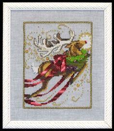 "NC121 - Rudolph - Christmas Eve Couriers - Nora Corbett Designs (Mirabilia Designer) Uses / Description: 6518 Twilight Blue Linen 32ct, Twilight Blue Linen 28ct, 355180 Twilight Blue Aida 16ct  Beads: (# of pkgs) 02011 (1), 42011 (1)  Treasures: (# of pkgs) 13007 (1), 13052 (3), 13062 (1), 13063 (1), 13065 (1)  Caron Collection Waterlilies: CWL204  Kreinik: See website. See Nora Corbett Embellishment Pack: NC121E  **Approximate size 5"" w x 6.25"" h"