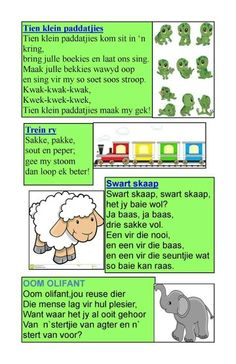 Kids Nursery Rhymes, Rhymes For Kids, Kindergarten Lessons, School Lessons, Character Education, Kids Education, Grade R Worksheets, Nursery Rymes, Afrikaans Language