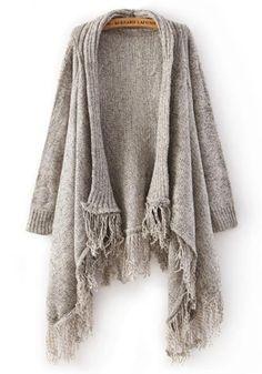 Grey Plain Tassel Cardigan