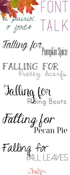 Font Talk: A Pairin' o' Fonts FALL EDITION ~~ {9 free & 1 pay font w/ links}