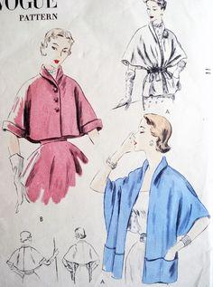 1950s ELEGANT Cape Jacket Cape Stole Pattern VOGUE 7324 Daytime or Evening  Easy To Make Vintage Sewing Pattern