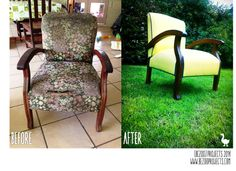 Before and After chair by {Bezoo} Before And After Pictures, Painted Furniture, Upcycle, Armchair, Home Decor, Sofa Chair, Single Sofa, Decoration Home, Upcycling