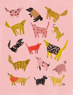 Illustrated Ladies (and lots of pink) by Holly Jolley - My heart skips a beat every time illustrator Holly Jolley shares one of her new creations - Art And Illustration, Illustrations And Posters, Illustration Animals, Pattern Illustrations, Dog Pattern, Pattern Design, Stuffed Animal Patterns, Dog Art, Print Patterns