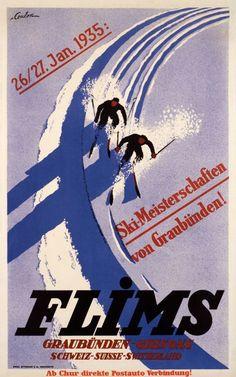 vintage ski poster - Flims By Eric de Coulon, 1932 Vintage Ski Posters, Retro Poster, Vintage Prints, Chur, Coffee Illustration, Graphic Illustration, Fürstentum Liechtenstein, Snow Place, Travel Ads