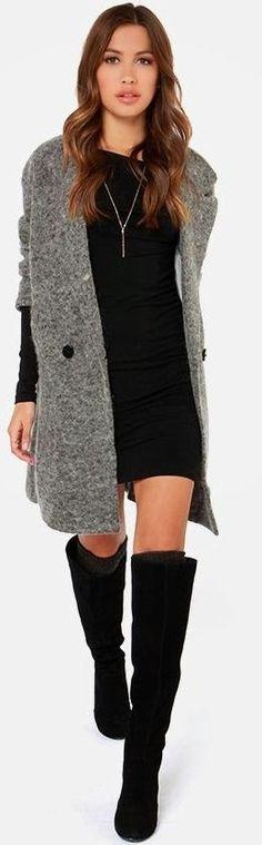 Grey Oversize Wool Cardi