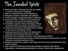 Characteristics of a Jezebel spirit - before I came to believe, this was me... I have to guard against it with the unwavering, fearless spirit of the most High, the only living God. I thought I was just independent.