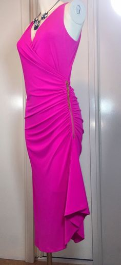 New with Tags, Michael Kors Ruched  Dress Hot Pink Gold Zip Detail SizeM RRP£120