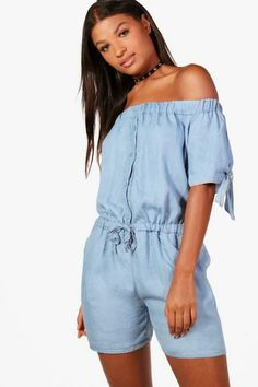 629faf589f3 Jumpsuits   Rompers · Boohoo Sophia Denim Look Off The Shoulder Playsuit Blue  Size L DH181 TT 03  fashion