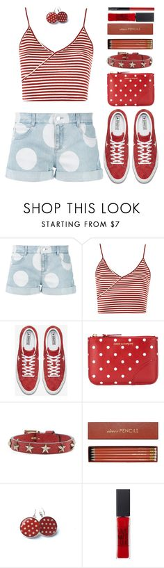 """""""Polka Dots"""" by alignmentmag ❤ liked on Polyvore featuring STELLA McCARTNEY, Topshop, Converse, Comme des Garçons, RED Valentino, Sloane Stationery and Maybelline"""