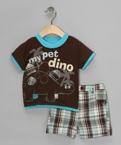 Take a look at this Brown 'My Pet Dino' Tee & Shorts - Infant by Little Rebels on #zulily today!