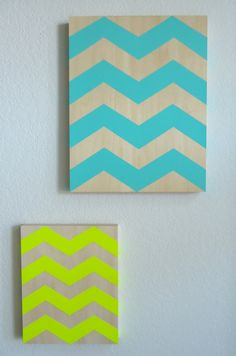 8x10 Neon Yellow Chevron Painting on Wood Canvas Teal Blue On Etsy http://www.etsy.com/shop/tealblue1990 Handcrafted paintings, home decor, and more!