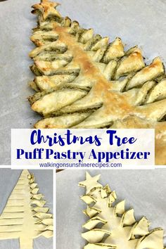 Christmas Tree Puff Pastry Appetizer with Pesto Sauce Christmas Tree Puff Pastry with pesto sauce – Savory puff pastry filled with pesto sauce and then shaped into a Christmas tree makes the perfect appetizer. Puff Pastry Appetizers, Finger Food Appetizers, Appetizer Recipes, Puff Pastries, Puff Pastry Recipes Savory, Sauce Pesto, Xmas Food, Clean Eating Snacks, Healthy Recipes