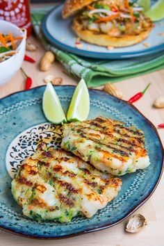 Pad Thai Shrimp Burgers -- obviously, sub out the sugar and nix the buns. These look damn tasty!