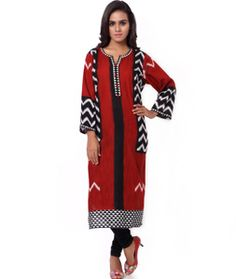 Shop Red Cambric Cotton Readymade Kurti 72001 online at best price from vast collection of designer kurti at Indianclothstore.com.