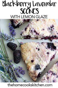 Light and subtle, crispy, yet fluffy lavender blackberry scones with lemon glaze! A perfect balance between sweet and sour. Blackberry Scones, Blackberry Recipes, Lavender Scones, Lemon Scones, Baking Recipes, Dessert Recipes, Desserts, Drink Recipes, Cobbler