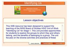 """This fantastic SMART Notebook resource has been designed to support the teaching of the Unit of Work """"Identifying Us"""" from the NSW Board of Studies HSIE Syllabus. This unit provides opportunities for students to explore the groups to which they and others belong, and the benefits of belonging to a group. The unit focuses on the diverse activities and practices of these groups and the associated clothing, equipment, symbols and rules."""