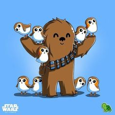 Star Wars illustration Chewie and Porgs Chewbacca, Ewok, Star Wars Film, Star Wars Fan Art, Star Trek, Geeks, Tableau Star Wars, Star Wars Cartoon, Star Wars Wallpaper