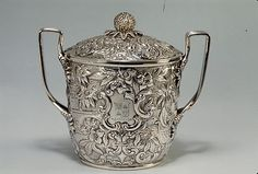 Silver Sugar Bowl ca. 1845, by Andrew Ellicott Warner (1786-1870), Baltimore, Maryland
