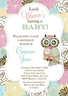 Spring Pastel Floral Owl Baby Shower Invitation by PartyPopInvites, $17.00