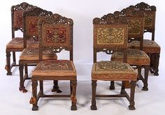 SET OF 6 SIMILAR CARVED WALNUT SIDE CHAIRS C.1860
