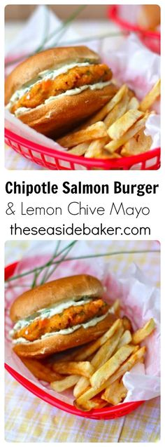 Lower Excess Fat Rooster Recipes That Basically Prime These Tender Salmon Burgers Have A Touch Of Smokiness From The Chipotle That Pairs Perfectly With The Lime Chive Mayo. Ideal For Lent, Spring, Quick And Easy Weeknight Meals, And A Summer Bbq Burger Toppings, Burger Recipes, Salmon Recipes, Fish Recipes, Seafood Recipes, Cooking Recipes, Healthy Recipes, Recipes For Lent, Delicious Recipes