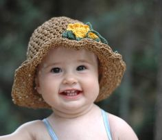 Summer Sun Hat For Children with yellow flowers