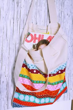 Handmade Canvas tote Bag.Sport, Summer,colorful bag. Handmade handbag, Japanese fabric, dots, pink, yellow, purple, blue.Cotton Tote Shopper by AJPunkt on Etsy