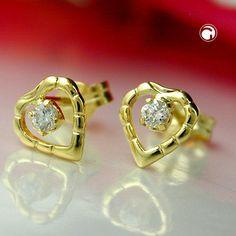 Stecker, Herz mit Zirkonia, 8Kt GOLD
