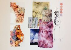 Fashion Sketchbook - fashion design development with dyed & manipulated fabric samples, fashion sketch & visual research; fashion portfolio // Rhianna Morton