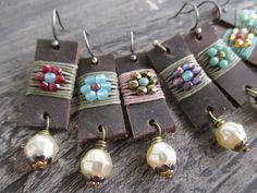 Leather earrings - Flower Child - distressed leather pearl dangle sterling silver rustic fall earrings boho chic by slashKnots slash knots