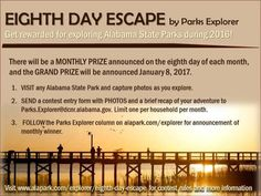 It's a great time to explore Lake Martin's Wind Creek State Park! Visit an Alabama state park in 2016 and you could win one of 12 prize packs and earn a shot at a grand prize in the Eighth Day Escape adventure series and contest. Monthly prize drawings will be held throughout the year on the 8th day of each month. #LakeMartin #TheLakeMartinExperience #contest
