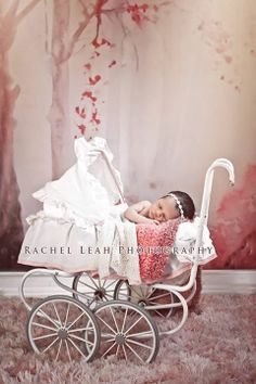 Newborn Photography | Rachel Leah Photography | Girl in Carriage | Backdrop Art by Patrycja Czekajska [Patriszkarch.deviantart.com]