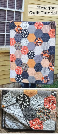 Sewing Quilts A free quilt pattern for a large hexagon quilt. How to make a hexagon quilt the easy way with no - Free large hexagon quilt pattern. Easily sttich up a large hexagon quilt for Halloween with free tutorial. Tips for making hexagon quilts Quilting For Beginners, Sewing Projects For Beginners, Quilting Tutorials, Quilting Projects, Quilting Designs, Quilting Ideas, Hexagon Quilt Pattern, Hexagon Quilting, Hexagons