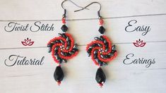 Twist stitch earrings with twin beads - tutorial List of materials: 11/0 seed beads of 2 colours (red and silver) twin (superduo) beads of 2 colours (grey and black) 2 bicones 2 crystals (in the shape of tear drops) (or other beads of your choice) earing findings monofilment 0.14mm (5.50lbs) - 2 pieces - one armspan each or thread of your choice (fireline etc.) size 10 beading needle pliers (not obligatory) scissors #jewelrymaking #beading