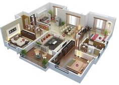 A floor plan, or floorplan, is a virtual model of a building floor plan, depicted from a bird's eye view Modern House Floor Plans, 3d House Plans, Model House Plan, House Layout Plans, Home Design Floor Plans, Family House Plans, Dream House Plans, House Layouts, Small House Plans