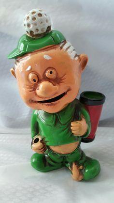 Vintage Golfer Golf Whimsical Irish Leprechaun Piggy Bank Mouth Fed Gift for Golfer PGA Inspired Pro Golfer Gift
