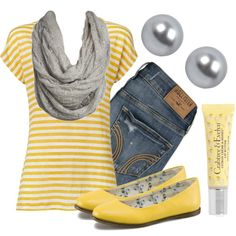 yellow and gray get a triped shirt were a scar that eaither goes with one of the colors or is nurtial  were jewlery color of the scarf