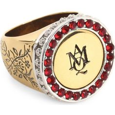ALEXANDER MCQUEEN Brand logo signet ring ($285) ❤ liked on Polyvore featuring jewelry, rings, siam, engraved signet rings, floral jewelry, alexander mcqueen, gold and silver rings and alexander mcqueen ring