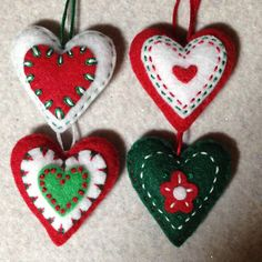 Red green and white embroidered felt heart ornaments by Lucismiles, $12.00