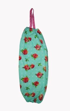 Quality Vintage Blue Floral 100% Cotton Plastic Carrier Bag Tidy Holder Storage