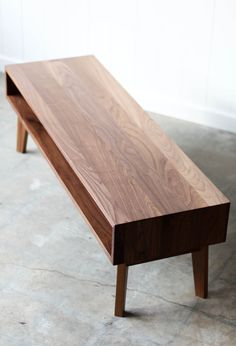 Surround Coffee Table  Solid Walnut by hedgehouse on Etsy, $535.00  --like this but with bowtie inlays in rosewood or something ebonylike on the top near each of the four corners??