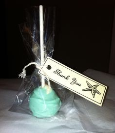 Cake pop shower favors! Came out so cute.. Beach/ starfish theme.