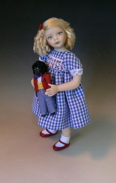 Dollhouse Little Girl With Ragdoll Golly by Debbie Dixon-Paver