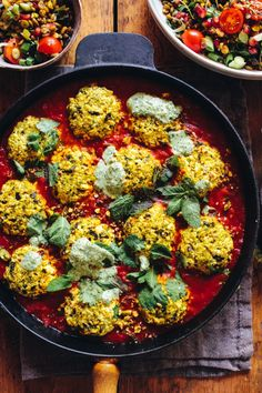 Moroccan 'fish' balls with Tomato Sauce and Freekah Salad - Rebel Recipes Freekah Recipes, Veg Recipes, Spicy Recipes, Lunch Recipes, Vegetarian Recipes, Cooking Recipes, Healthy Recipes, Healthy Food, Yummy Food