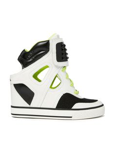 0ba00a7207e4 DKNY ACTIVE Gracie Cut Out Leather Wedge Trainers