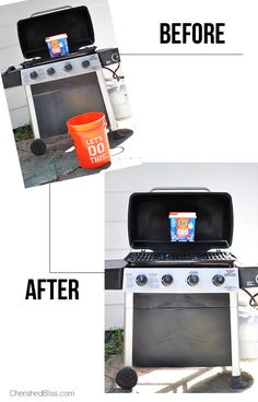 Do you have a gross grill? It is time to learn how to Clean Your BBQ Grill in just minutes! Tide OXI Multi Purpose Cleaner makes this so quick and easy! Diy Cleaning Products, Cleaning Solutions, Cleaning Hacks, Bbq Grill Cleaner, Clean Grill Grates, T Lights, Solar Lights, Remove Water Stains, Household Cleaners